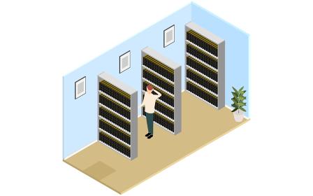 本棚に資料の詰まった資料室、アイソメトリック