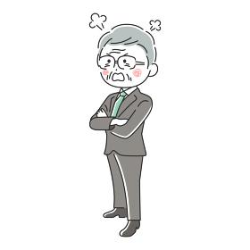 腕組みをして怒っている年配ビジネスマンのイラスト