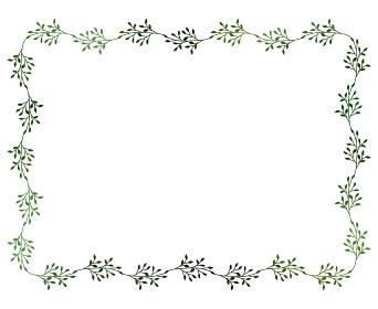 緑の小枝のフレームイラスト 3