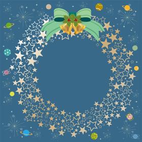 クリスマス:リース フレーム 枠 飾り 宇宙 惑星 星 星型 リボン 鈴 クリスマスリース