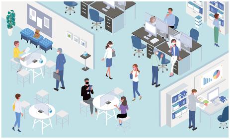感染対策をするオフィスのイラスト ニューノーマル 働く人々 アイソメトリック
