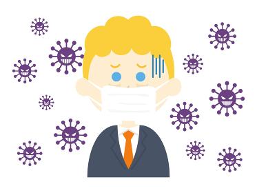 ウイルス感染したマスクをした白人男性のイラスト