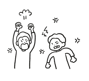 兄弟喧嘩の線画イラスト