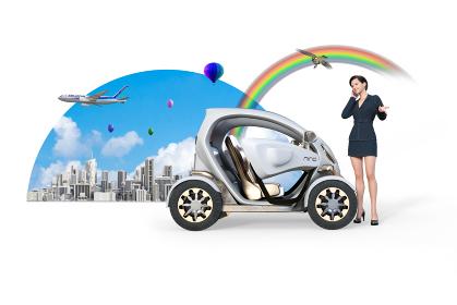 近未来で発展を遂げた大都市で自動車を使うショートヘアのビジネスウーマンが携帯電話で通話する