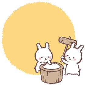 満月と餅つきをするうさぎのフレーム