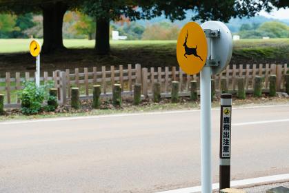 鹿飛び出し注意の標識