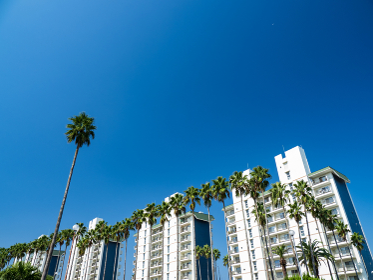 青空と南国リゾートの建物