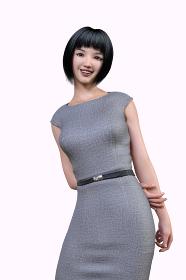 黒髪のショートヘアのグレーのワンピース姿の女性社員が後ろで腕を掴み笑顔でポーズする