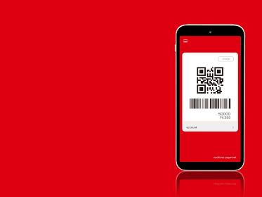 キャッシュレス決済 コード払いのイメージ 赤色 1403