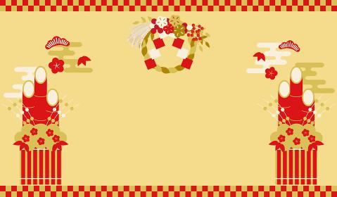 しめ飾りと門松の祝賀イメージ
