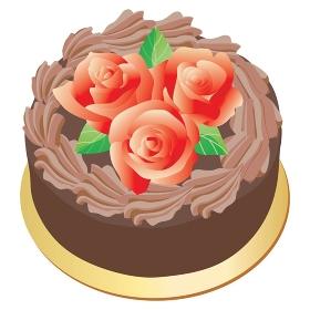 バラの飾りのチョコレートケーキ