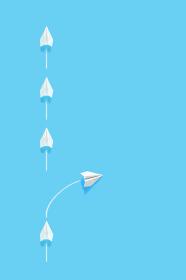 列からはみ出る紙飛行機 4 縦位置