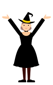 ハロウィンの仮装、魔女姿の女の子が両腕を上げるポーズ