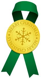 クリスマス素材/ ゴールドメダル & リボン デコレーション・装飾素材イラスト