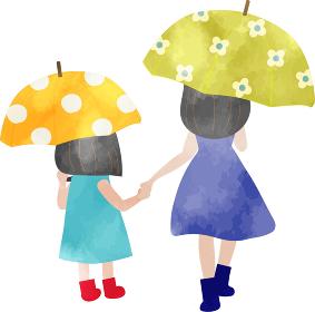 傘を差して歩く母子のイラスト 水彩風