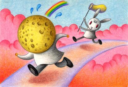 逃げる月と追う兔