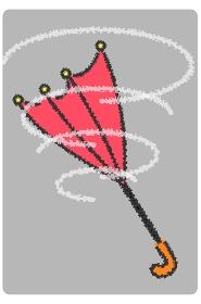 吹き飛ばされる傘