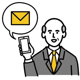 男性 シニア スーツ ベクター ポップ 携帯電話 メール