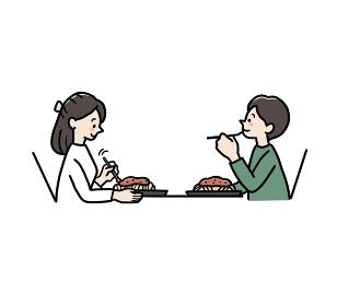 パスタを食べるカップルのイラスト