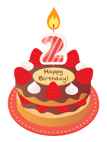2歳のキャンドルをのせた苺とチョコのお誕生日ケーキ