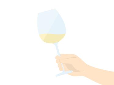 ワイングラスを持つ手のイラスト
