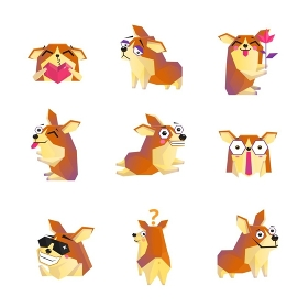 Corgi Dog Cartoon Character Icons Collection. Cute corgi dog animation cartoon character icons collection with heart rose and sunglasses isolated vector illustration