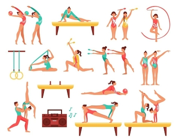 Gymnastics And Actobatics Decorative Icons Set. Decorative icons set with gymnastics including girls with sports tools and acrobatics on beam isolated vector illustration
