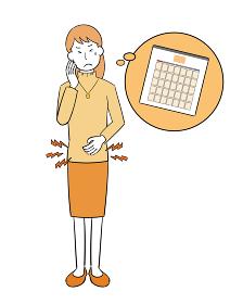生理痛を耐える女性