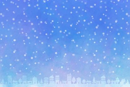 雪降る街 水彩風