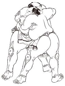 浮世絵 相撲取り その1 白黒