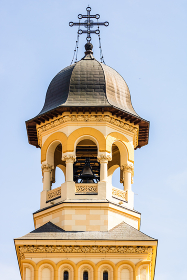 Architectural details of cathedral. View of church in Alba Iulia, Romania, 2021.
