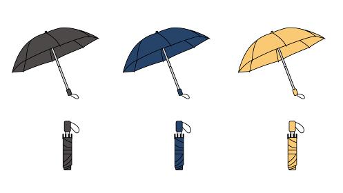 折り畳み傘 カラーバリエーション イラスト素材
