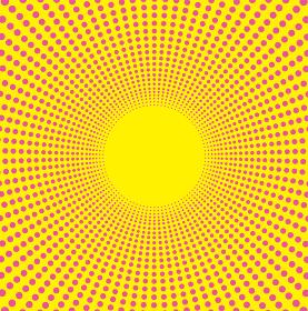 ドットの集中線の背景イラスト(イエロー)・コミック・漫画背景|放射・放射線