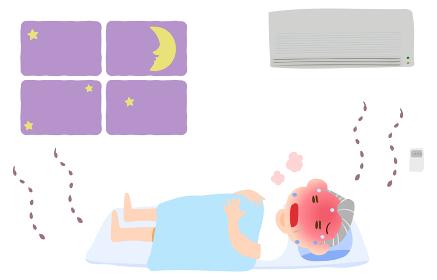 エアコンをつけずに寝て熱中症になる老人のイラスト