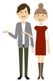 説明する若い男女 夫婦 カップル