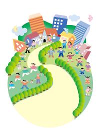地球を町並みで表現、働く人、家族が活気のある生活している