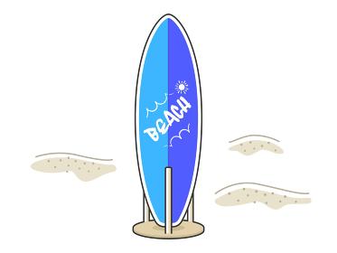 砂浜に立てているサーフボードのイラスト