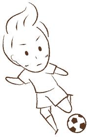 サッカーをする少年 キック